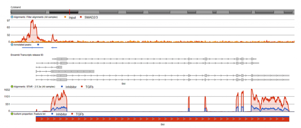 Chromosome view in Partek Flow of integrated ChIP-Seq and RNA-Seq data
