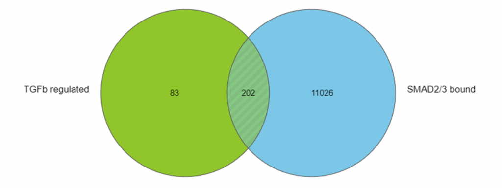 Venn diagram showing the integration of ChIP-Seq and RNA-Seq data