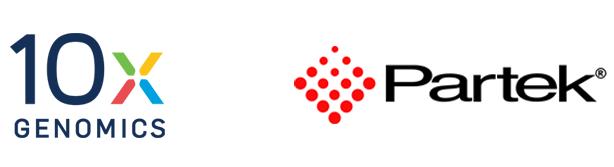 10x Genomics and Partek logos